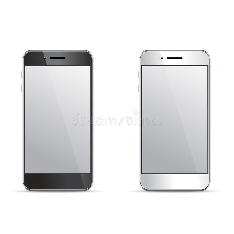 Empty screen smartphone templates on white background. Empty screen smartphone template on white background. Design elements for infographic, websites, motion stock illustration