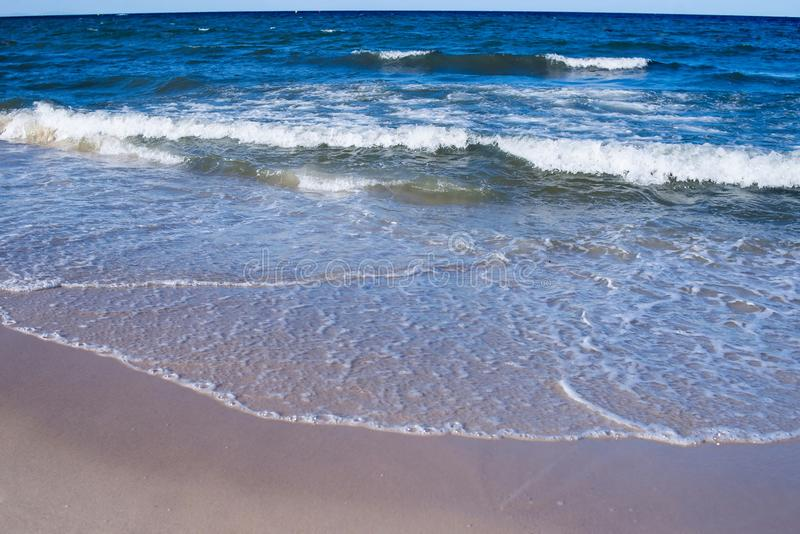 Empty sea, ocean beach with waves. Travel royalty free stock images
