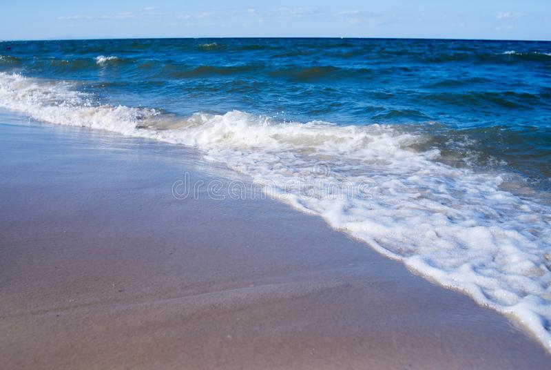 Empty sea, ocean beach with waves. Travel royalty free stock photos