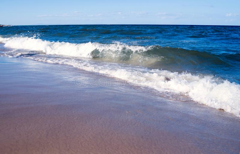 Empty sea, ocean beach with waves. Travel royalty free stock photography