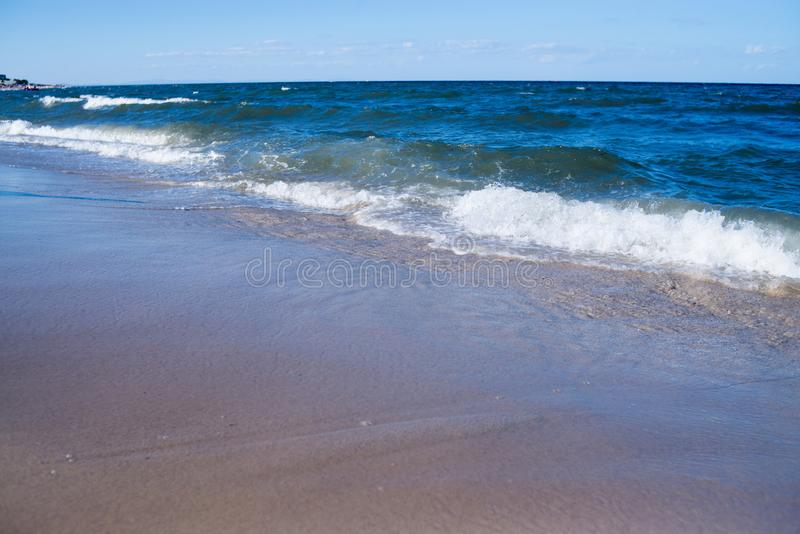 Empty sea, ocean beach with waves. Travel stock image