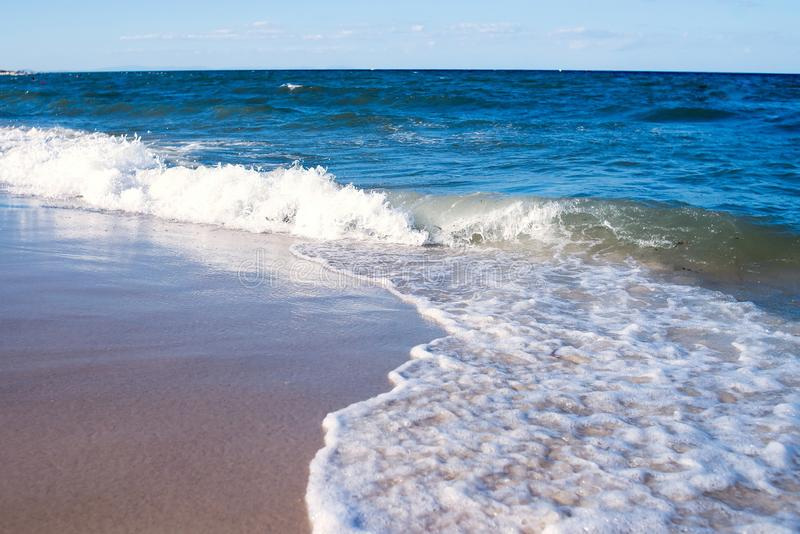 Empty sea, ocean beach with waves. Travel stock images