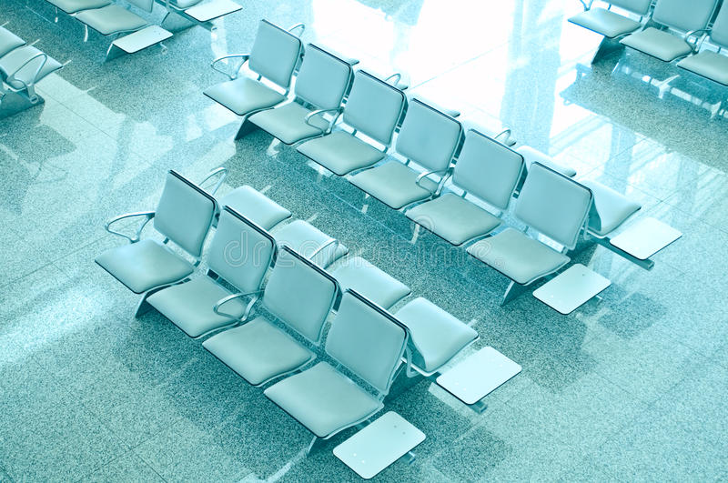 Empty seats at the airport. Deserted royalty free stock photo