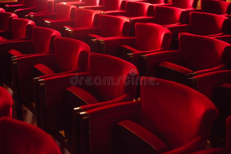 Empty seats at the cinema stock photos