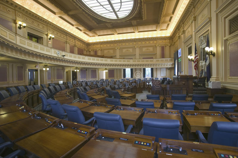 Empty seats of House of Representatives Chamber royalty free stock photos