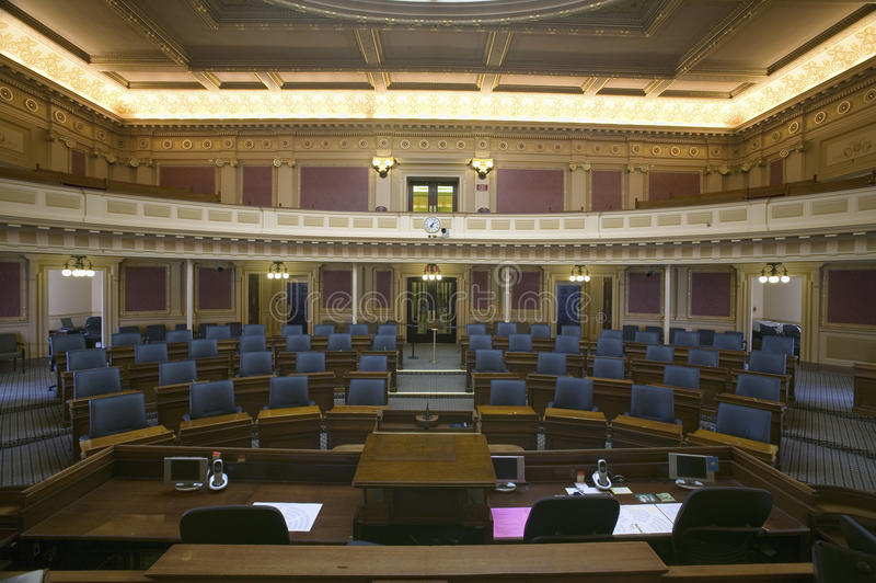 Empty seats of House of Representatives Chamber royalty free stock image
