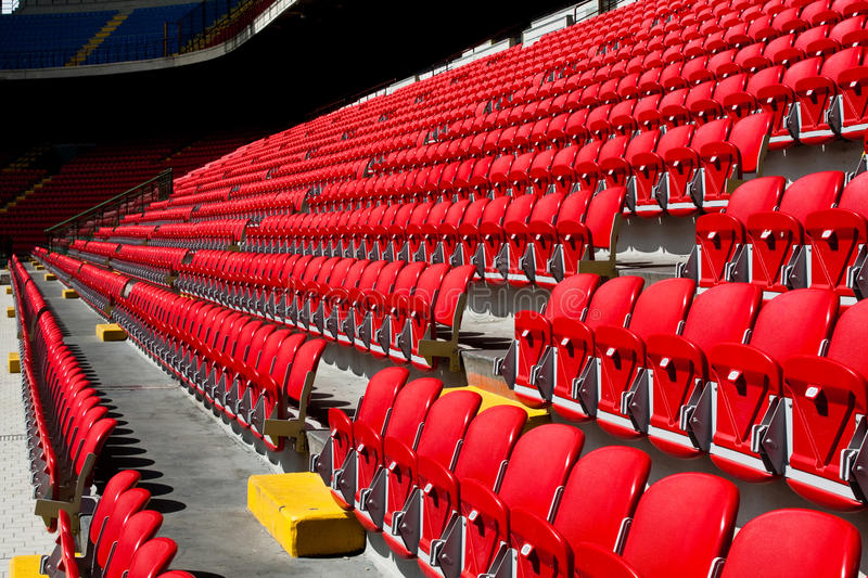 Empty seats on soccer stadium stock images