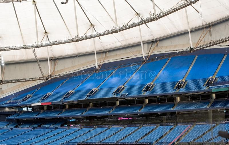 Empty seats in stadium stock image