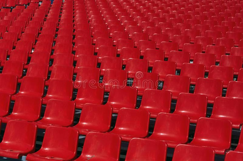 Empty seats at the stadium. royalty free stock photography