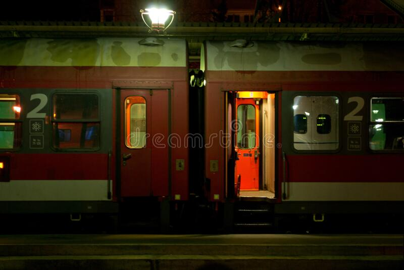 An empty second class passenger car. Train is parked in the station waiting for next journey. royalty free stock photos
