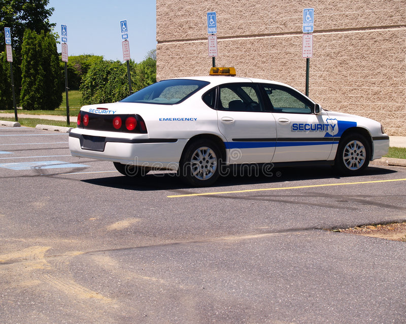 Empty security vehicle in a parking lot royalty free stock image