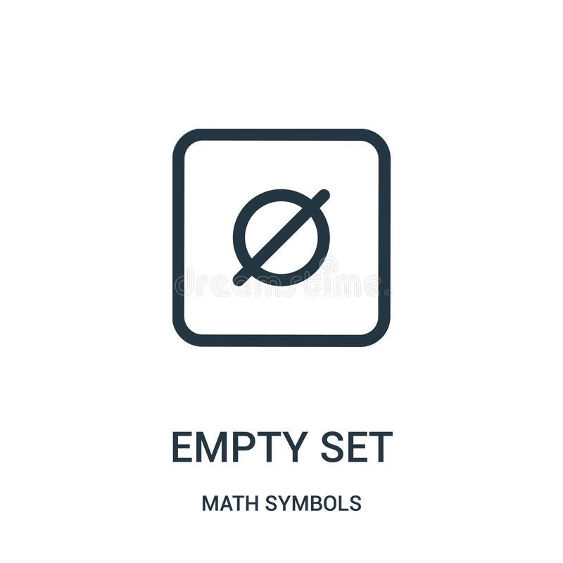 empty set icon vector from math symbols collection. Thin line empty set outline icon vector illustration royalty free illustration
