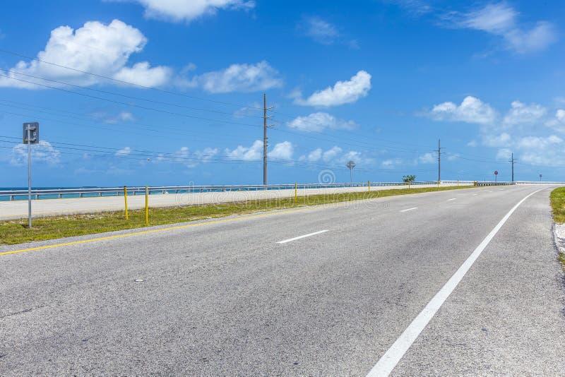 Empty seven mile bridge in the keys near key west. Florida royalty free stock photo