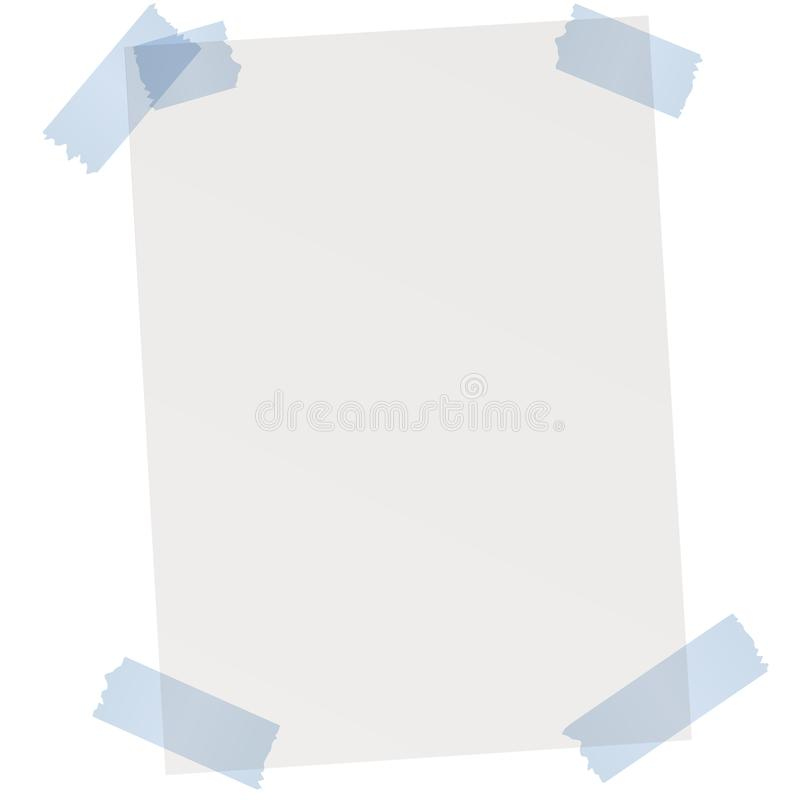 empty sheet of paper with adhesive tape stock illustration