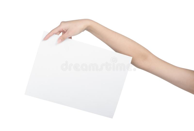 Empty sheet of paper in female hand. With manicure isolated on white royalty free stock photo