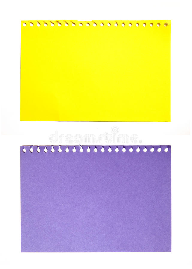 Empty sheet of yellow and purple paper isolated. On white stock images