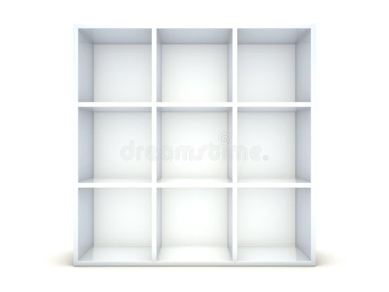 Empty shelf. Empty bookshelf on white background