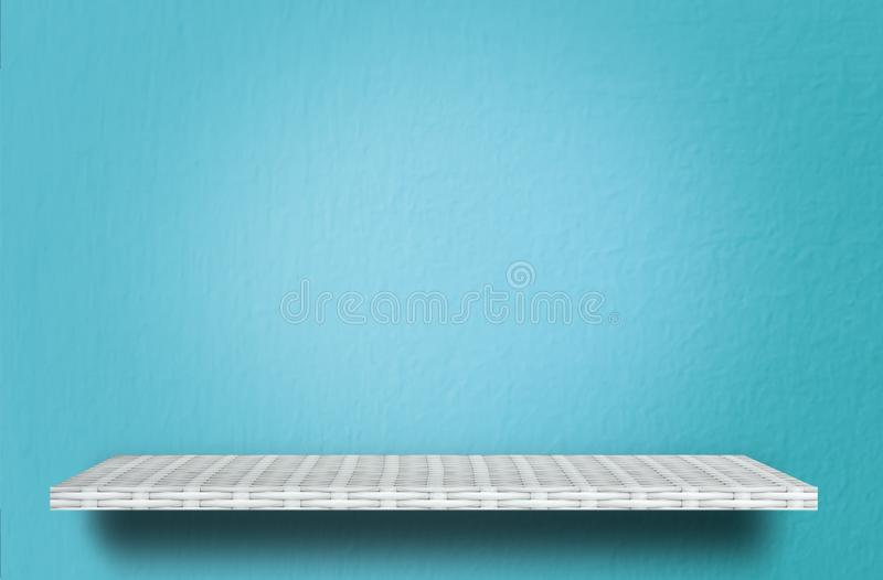 Shelf counter on blue cement texture for product display. Empty shelf counter on blue cement texture for product display stock photo