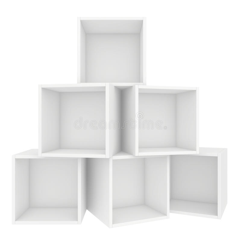 Empty shelf. 3d render on white background. Empty white shelf. 3d render on white background stock illustration