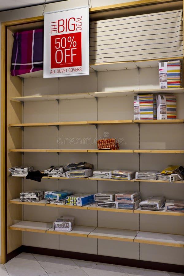 Empty shelves after big sale stock photo