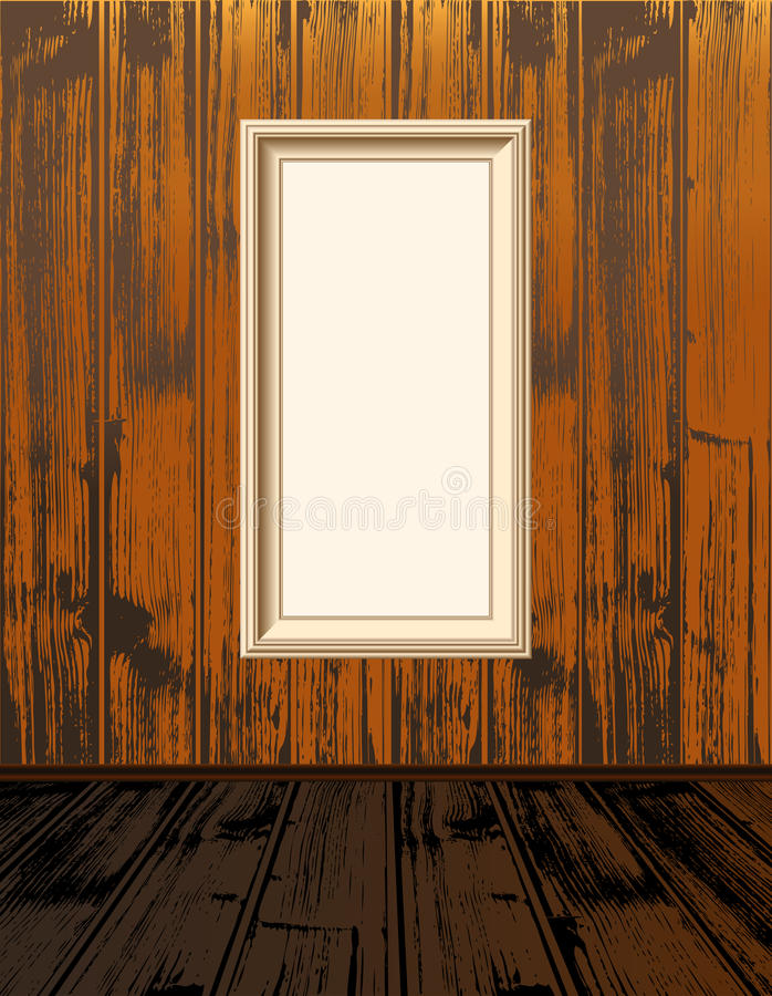 Empty shelves. Clean vector empty frames, on vintage wood wallpaper, with brown wooden floor stock illustration