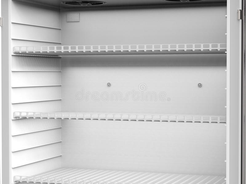 Empty shelves in fridge royalty free illustration