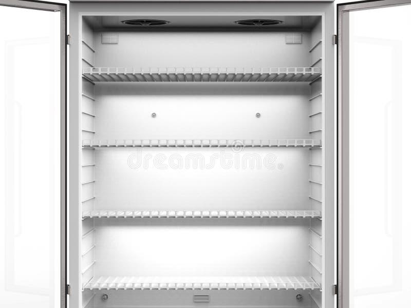 Empty shelves in fridge vector illustration