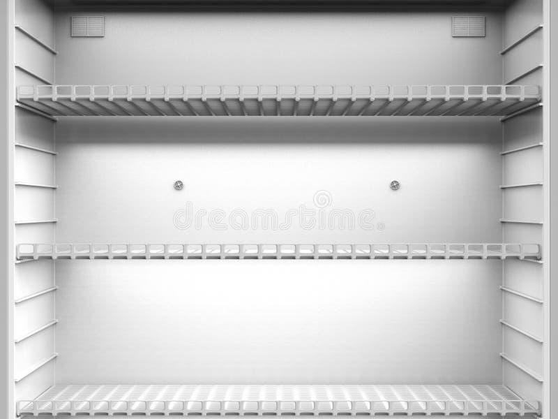 Empty shelves in fridge. 3d rendering close up empty shelves in fridge stock image