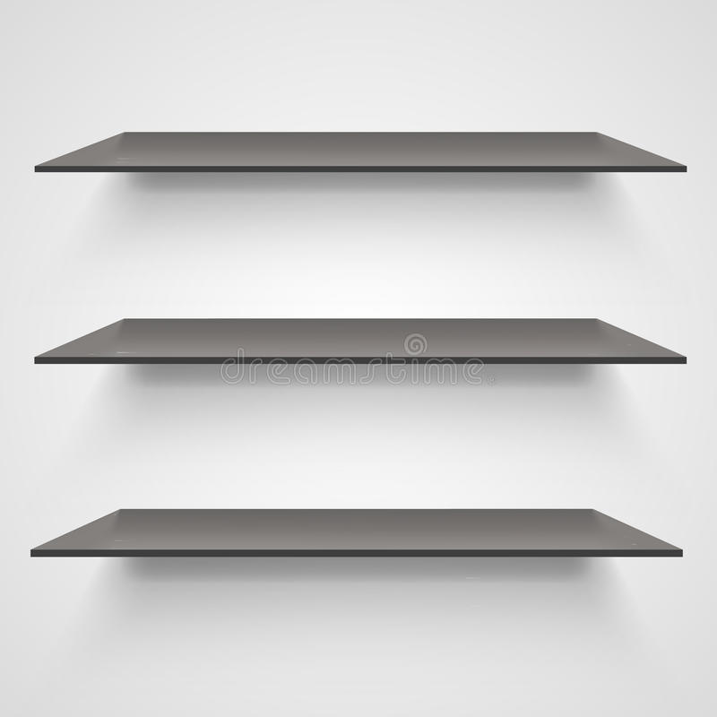 Empty shelves on light grey background. Vector illustration stock illustration