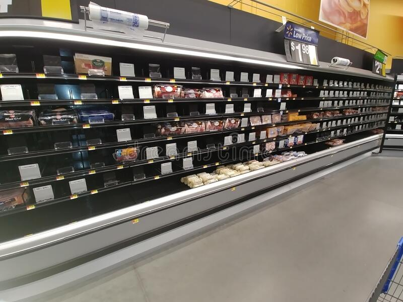 Empty shelves at a local market stock image