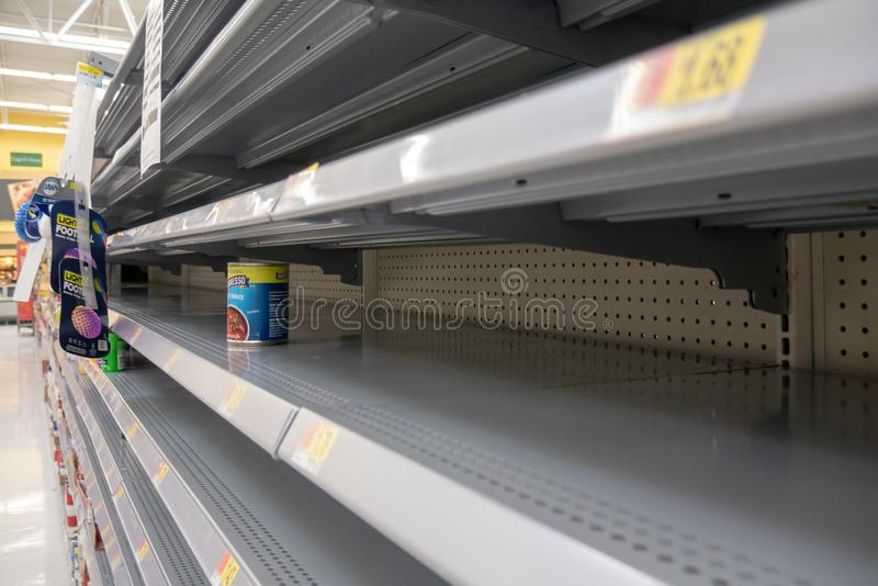 Empty shelves in Local Store Walmart for Hurricane Dorian Preparations. Florida Hurricane Season 2019. Hurricane Category 4. Coral Springs, Florida/USA - August royalty free stock image