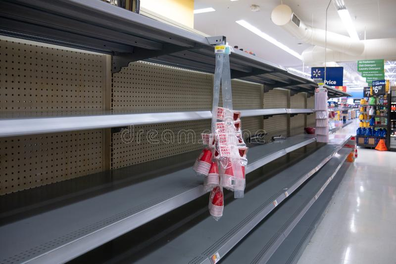 Empty shelves in Local Store Walmart for Hurricane Dorian Preparations. Florida Hurricane Season 2019. Hurricane Category 4. Coral Springs, Florida/USA - August stock images