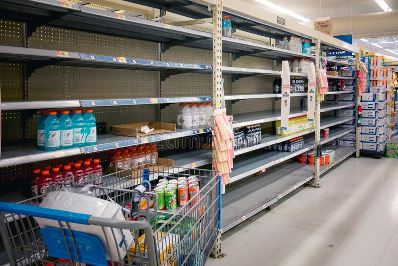 Empty shelves in Local Store Walmart for Hurricane Dorian Preparations. Florida Hurricane Season 2019. Hurricane Category 4. Coral Springs, Florida/USA - August stock image