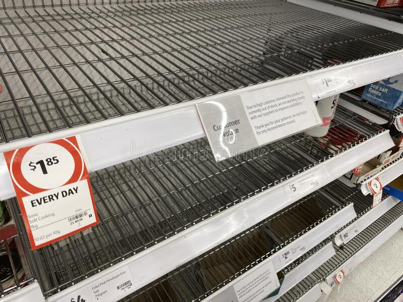 Empty shelves of salt from the corona virus panic. Narre Warren, Victoria Australia - March 6th 2020 -Empty salt shelves in a supermarket caused by panic buying royalty free stock photo