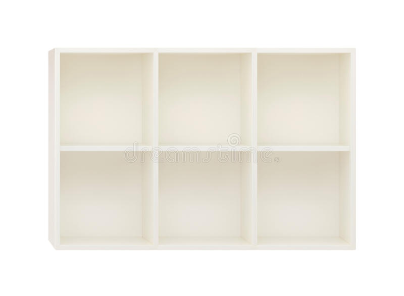 Empty Shelves in the white wooden rack isolated on white. Background royalty free stock images