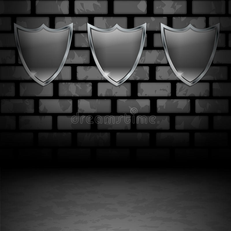 Download Empty Shields On Dirty Wall Stock Illustration - Illustration of blank, clear: 25200284