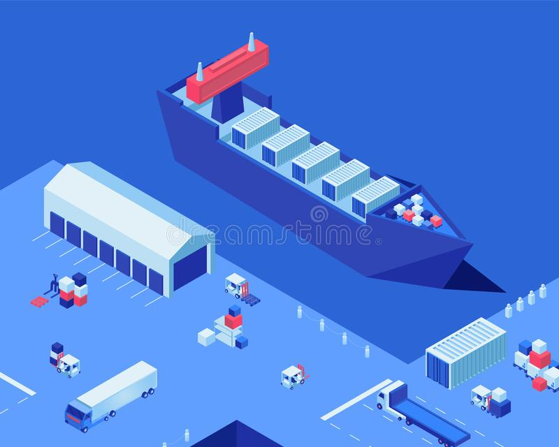 Empty shipping dock isometric vector illustration. Warehouse storage, industrial ship and freight trucks at harbor. Empty shipping dock isometric vector royalty free illustration
