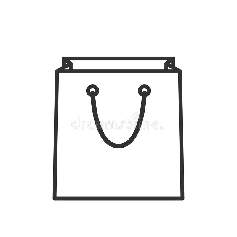 Empty Shopping Bag Outline Flat Icon stock illustration