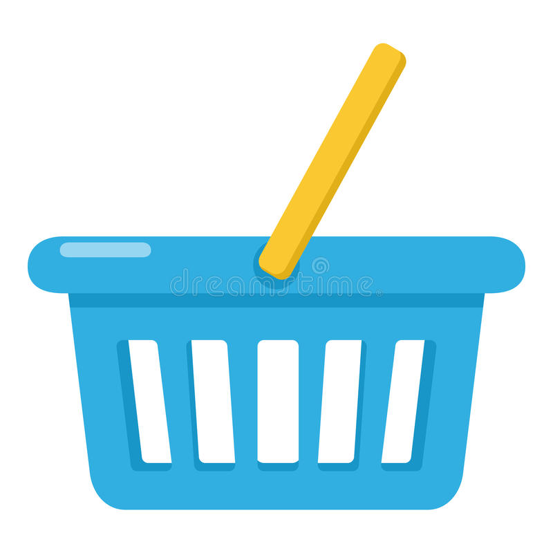 Empty Shopping Basket Flat Icon on White vector illustration