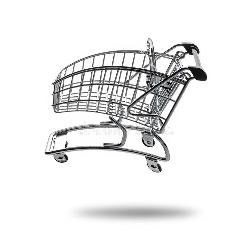 Empty shopping cart at full speed royalty free stock photo