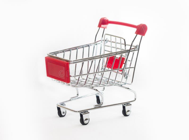 Empty shopping cart, isolated on white background stock photos