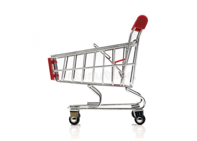 Empty Shopping red cart isolated on white background. royalty free stock photos