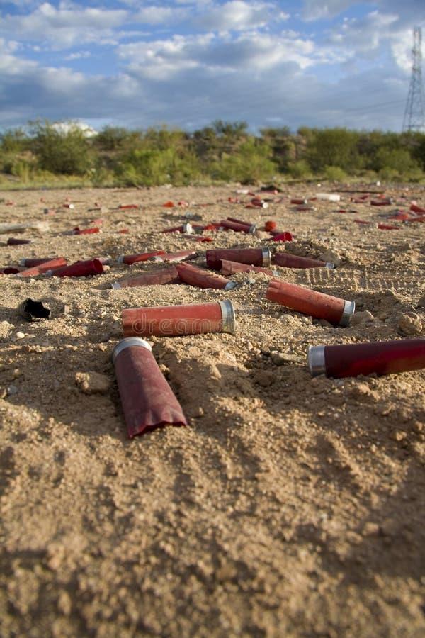 Empty shot gun shells stock photo