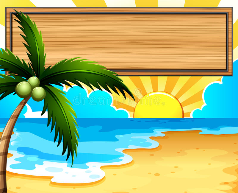 An empty signboard at the beach with a coconut tree royalty free illustration