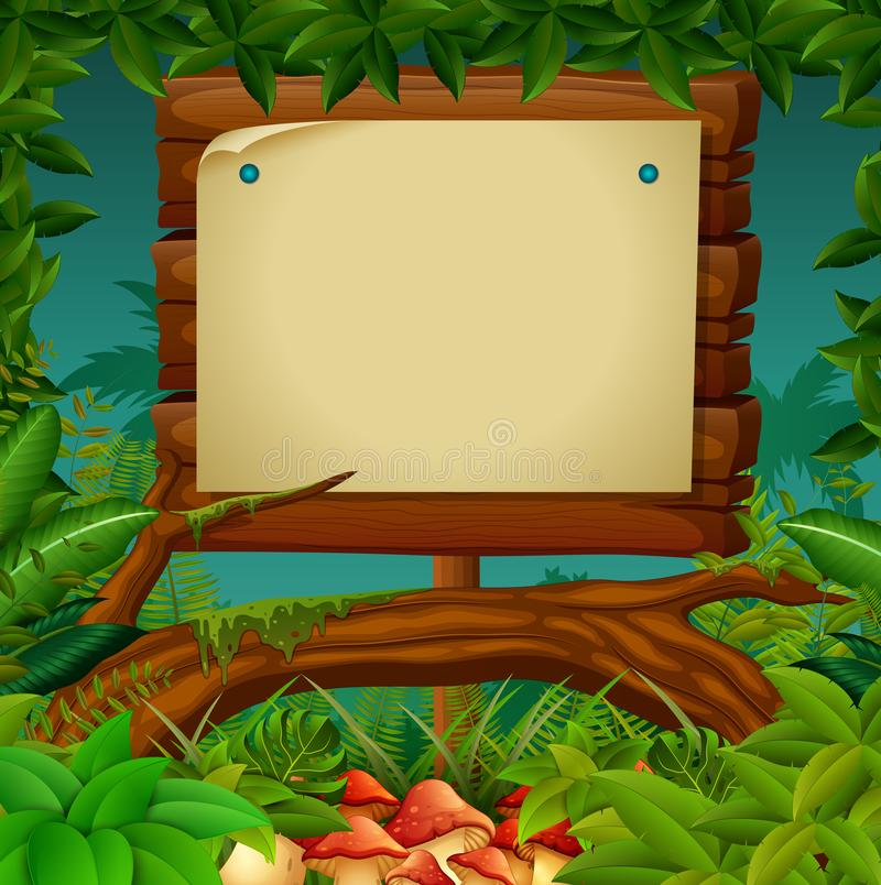 Empty signboard at the forest. Illustration of empty signboard at the forest stock illustration
