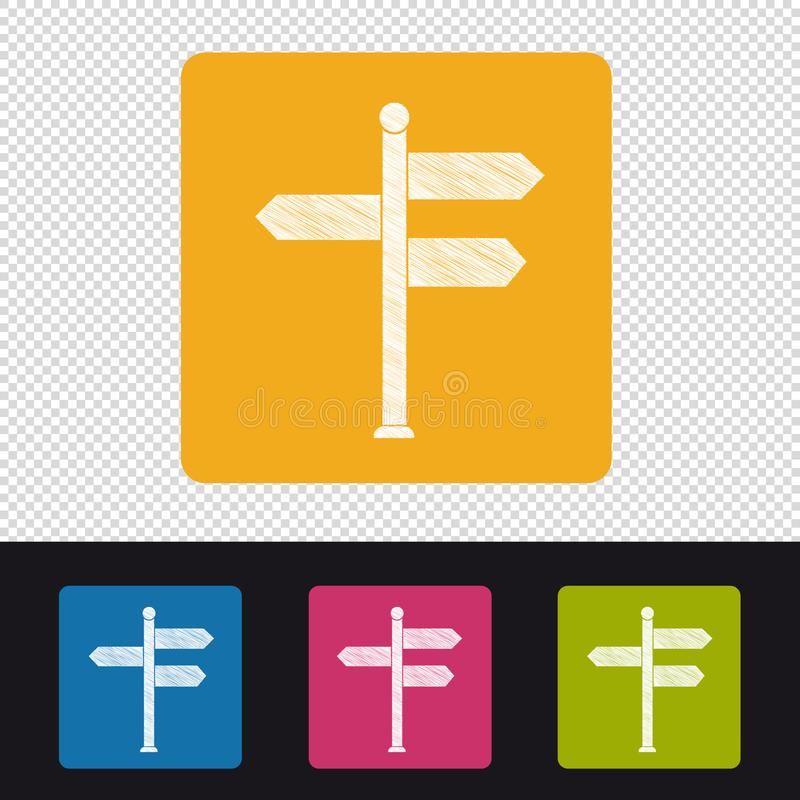 Empty Signpost Icon - Colorful Vector Scribble Illustration - Isolated On Transparent Background vector illustration