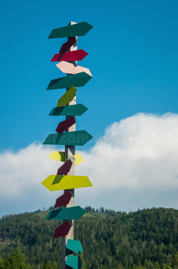 Empty signs on a signpost. Lots of empty signs on a signpost in front of a hill on a sunny day royalty free stock photo