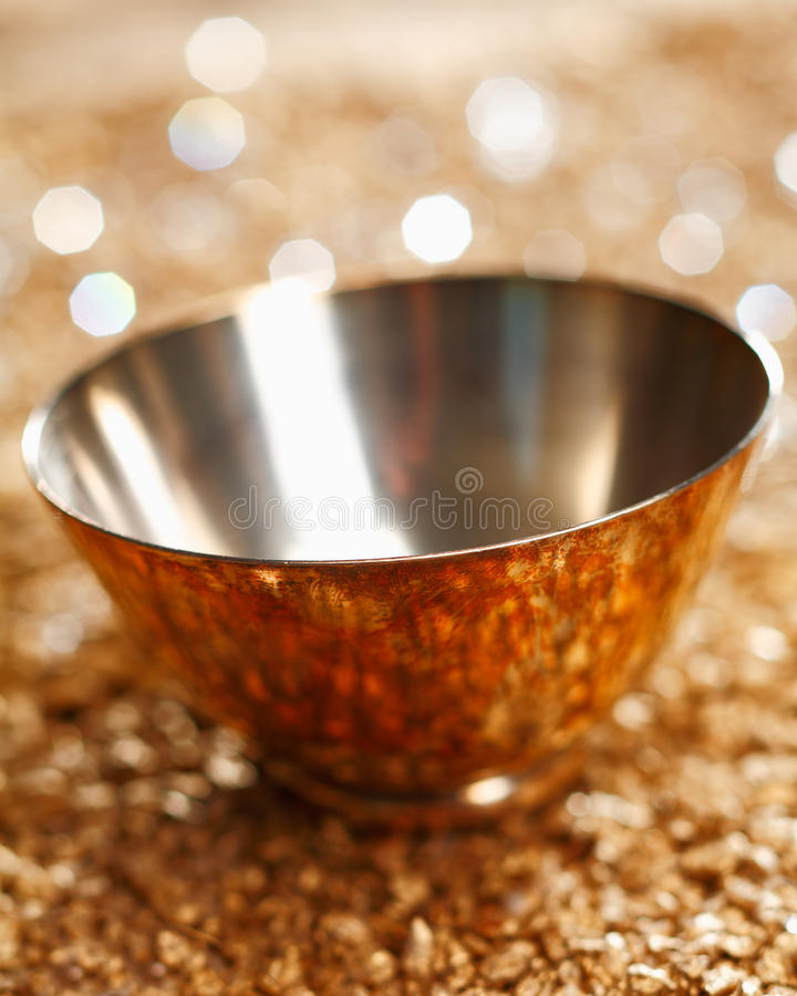 Download Empty Silver Bowl stock image. Image of golden, field - 24034675