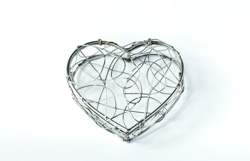 Empty Single Closed Curve Steel Container in Heart Like Shape on White Background for Valentine Event stock image