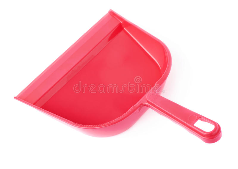 Empty single plastic scoop isolated over white background stock image